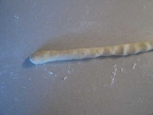 Roll each piece of the dough into a long cylinder