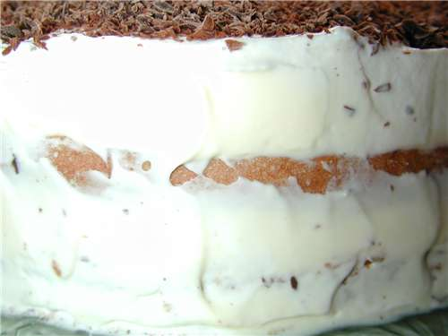 Finish the tiramisu cake by spreading some of the cream around